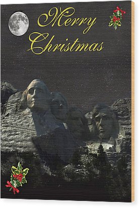 Mount Rushmore Merry Christmas Wood Print by Eric Kempson