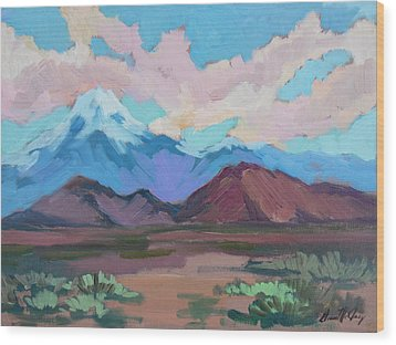 Wood Print featuring the painting Mount San Gorgonio by Diane McClary
