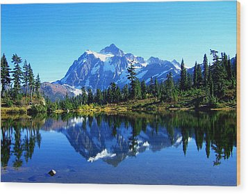 Mount Shuksan And Picture Lake Wood Print by Lynn Bawden