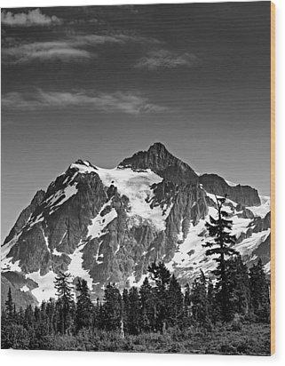 Mount Shuksan Black And White Cascade Mountains Washington Wood Print by Brendan Reals