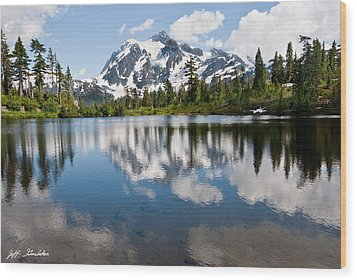Mount Shuksan Reflected In Picture Lake Wood Print by Jeff Goulden