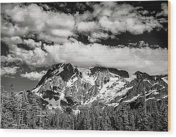 Wood Print featuring the photograph Mount Shuksan Under Clouds by Jon Glaser