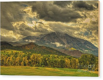 Mount Sopris Fall Morning After A Clearing Storm Wood Print by Harry Strharsky