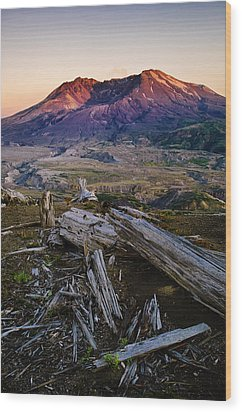 Mount St. Helens Sunset Wood Print by Greg Vaughn - Printscapes