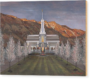 Mount Timpanogos Temple Wood Print by Jeff Brimley