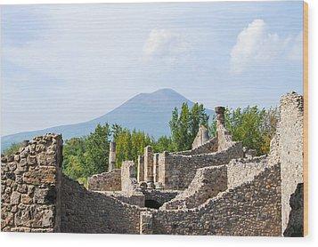 Mount Vesuvius Beyond The Ruins Of Pompei Wood Print