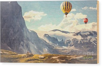 Mountain Air Balloons Wood Print