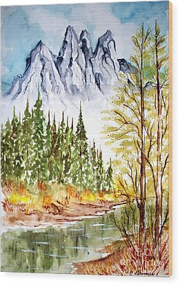 Wood Print featuring the painting Mountain Alps by Carol Grimes