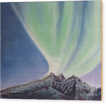 Wood Print featuring the painting Mountain Aurora by Stanza Widen