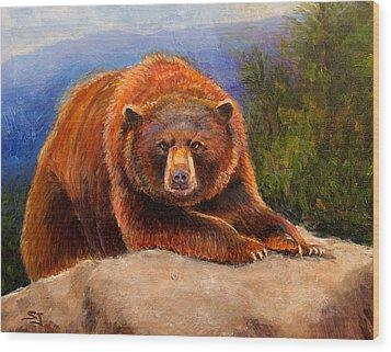 Mountain Bear Wood Print by Susan Jenkins