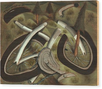 Wood Print featuring the painting Tommervik Abstract Mountain Bike Art Print by Tommervik