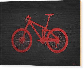 Mountain Bike - Red On Black Wood Print