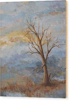 Mountain Blues Wood Print by Beth Maddox