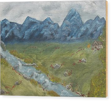 Mountain Cabin Wood Print by Leiah Mccormick