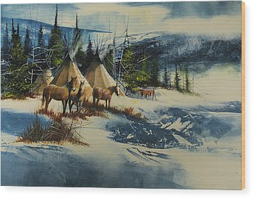 Mountain Camp Wood Print by Robert Carver