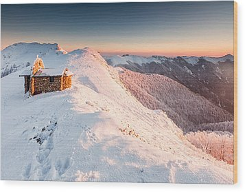 Mountain Chapel Wood Print by Evgeni Dinev