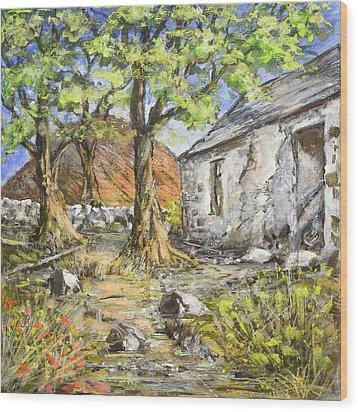 Mountain Cottage Wood Print
