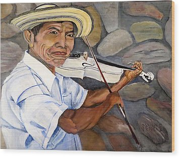 Mountain Fiddler Wood Print by Marilyn McNish