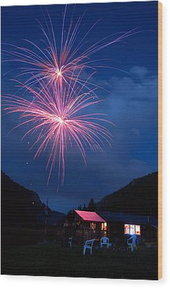 Mountain Fireworks Landscape Wood Print by James BO  Insogna