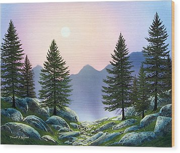 Mountain Firs Wood Print by Frank Wilson