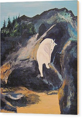Mountain Goat Wood Print by Richard Beauregard