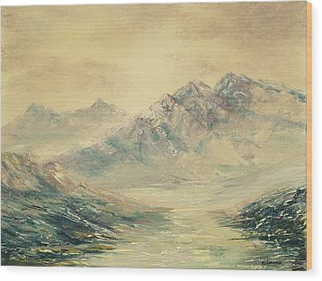 Wood Print featuring the painting Mountain High by Rebecca Kimbel