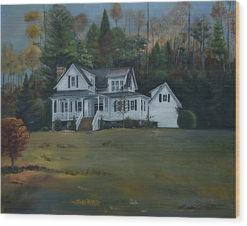Wood Print featuring the painting  Mountain Home At Dusk by Jan Dappen