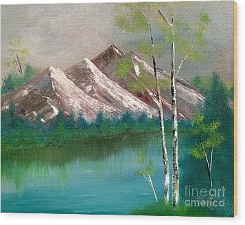Wood Print featuring the painting Mountain Lake by Denise Tomasura