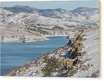Mountain Lake In Winter Scenery Wood Print