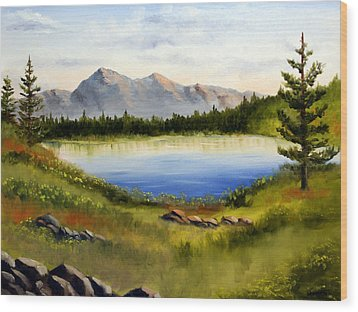 Mountain Lake Landscape Oil Painting Wood Print