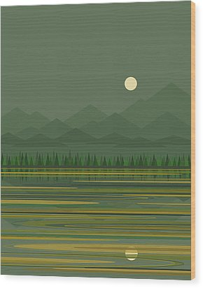 Wood Print featuring the digital art Mountain Lake Moon by Val Arie