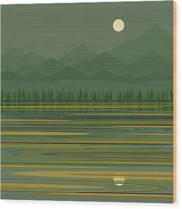 Wood Print featuring the digital art Mountain Lake Moonrise by Val Arie