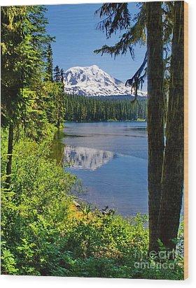 Mountain Lake Reflections Wood Print