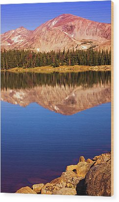 Wood Print featuring the photograph Mountain Lake Reflections by John De Bord
