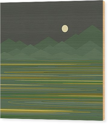 Mountain Lake Wood Print by Val Arie