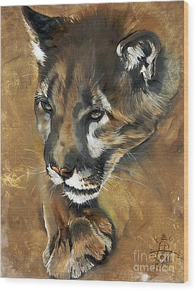Mountain Lion - Guardian Of The North Wood Print