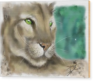 Wood Print featuring the digital art Mountain Lion by Darren Cannell