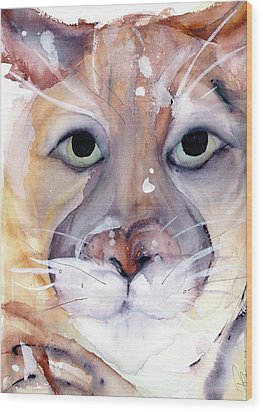 Wood Print featuring the painting Mountain Lion by Dawn Derman