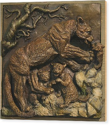 Wood Print featuring the sculpture Mountain Lion Mother With Cubs by Dawn Senior-Trask