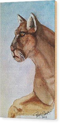 Mountain Lion Wood Print by Rand Swift