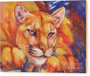 Mountain Lion Red-yellow-blue Wood Print by Summer Celeste