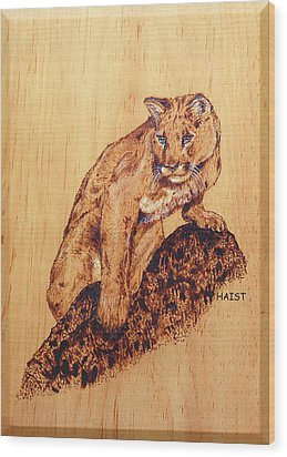 Wood Print featuring the pyrography Mountain Lion by Ron Haist