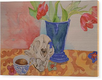 Wood Print featuring the painting Mountain Lion Skull Tea And Tulips by Beverley Harper Tinsley