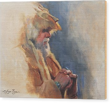 Mountain Man Wood Print by Anna Rose Bain