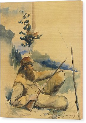 Wood Print featuring the drawing Mountain Man by Charles Schreyvogel