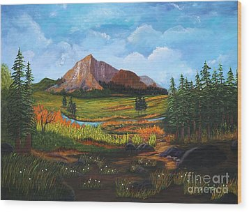 Wood Print featuring the painting Mountain Meadows by Myrna Walsh