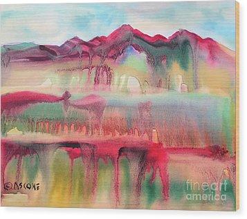Mountain Mirage Wood Print by Teresa Ascone