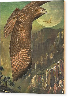 Mountain Of The Hawks Wood Print by Wingsdomain Art and Photography