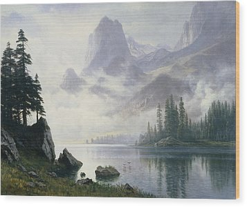 Mountain Out Of The Mist Wood Print by Albert Bierstadt