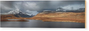 Wood Print featuring the photograph Mountain Pano From Knockan Crag by Grant Glendinning